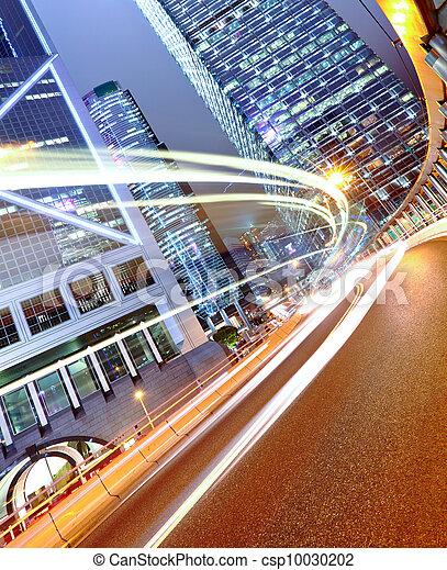 futuristic urban city with car light - csp10030202