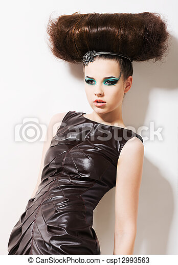 Futuristic Woman. Fantasy & Independence. Fancy Professional Coiffure - csp12993563