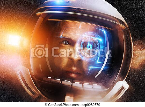 futuro, astronauta, scientifico - csp9282670