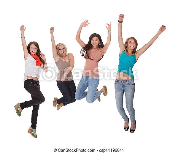 fyra, glädje, kvinna, ung, hoppning - csp11196041