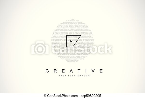 Fz F Z Logo Design With Black And White Creative Text Letter Vector