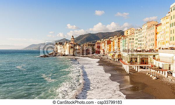 Bien-aimé Images de gênes, plage, camogli, italie, église csp33799183  RI91