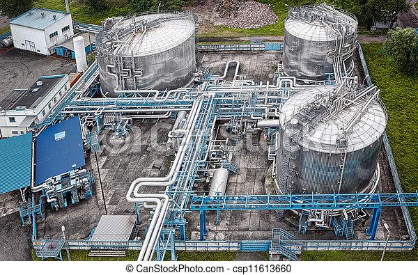 gás, industrial, aéreo, óleo, vista - csp11613660