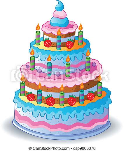 gâteau, 1, décoré, anniversaire. illustration., -, vecteur