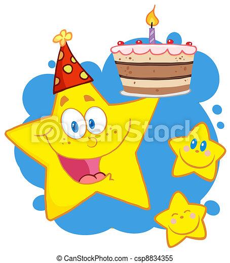 gâteau, anniversaire, étoile, tenue, heureux - csp8834355
