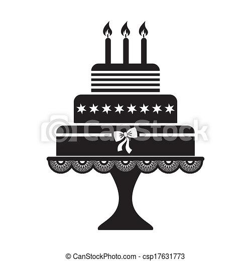 gâteau, anniversaire. vecteur, silhouette, illustration