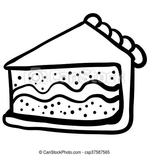 gâteau, blanc, morceau, noir, dessin animé clip art vectoriel