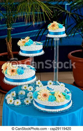 Gâteau Bleu Style Mariage