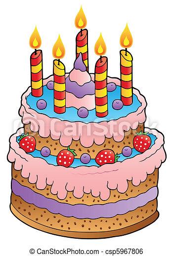 gâteau, bougies, fraises. vecteur, illustration., bougies, clip