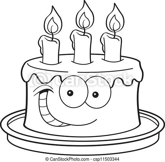 gâteau, bougies. gâteau, noir, blanc, candles., illustration