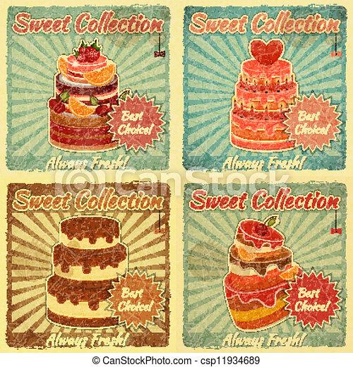 gâteau, cartes, ensemble, retro - csp11934689