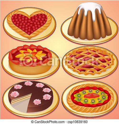gâteau, cerise, fraises, ensemble, tarte - csp10839160
