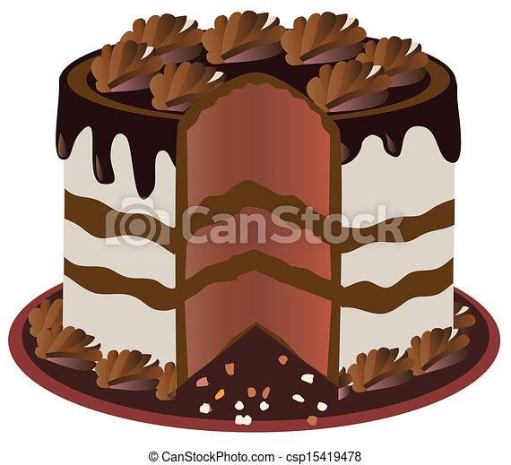 Gateau Chocolat Gateau Coupure Vecteur