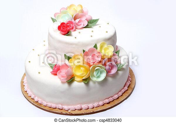 gâteau, couleur, flores, mariage - csp4833040