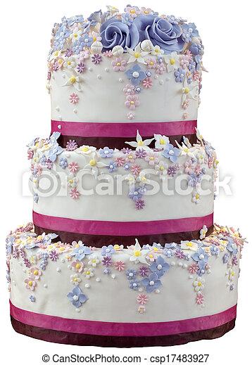 gâteau, coupure, mariage - csp17483927