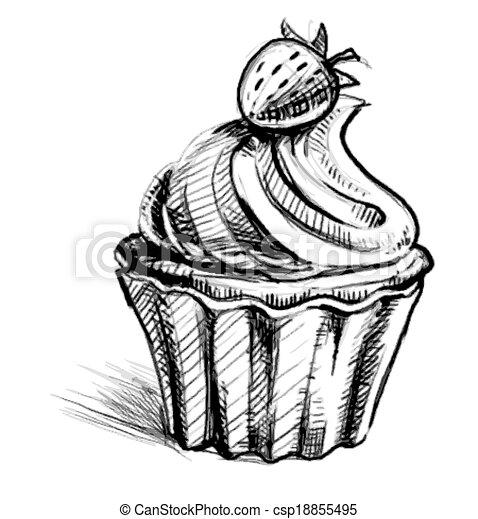 gâteau, crémeux, baie, délicieux, tasse - csp18855495