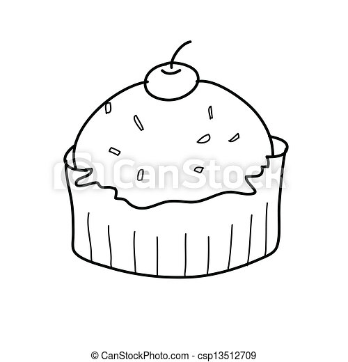 gâteau, croquis, noir, tasse blanche. croquis, tasse, style