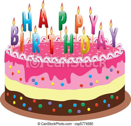 gâteau, délicieux. brûlé, bougies, anniversaire, vecteur