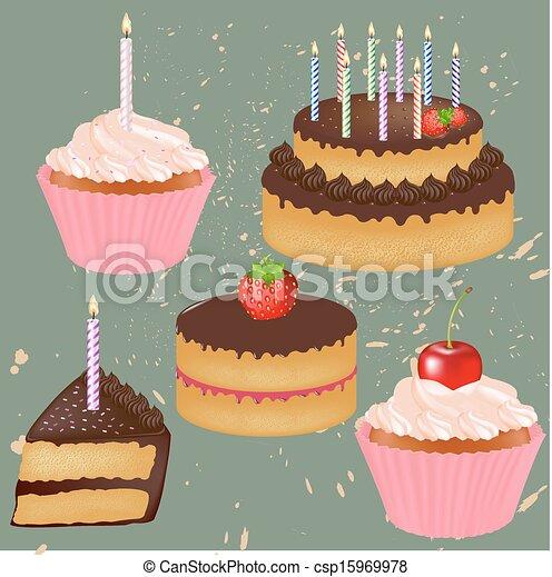 gâteau, grand, anniversaire, ensemble - csp15969978