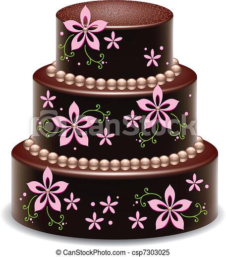gâteau, grand, délicieux, chocolat - csp7303025