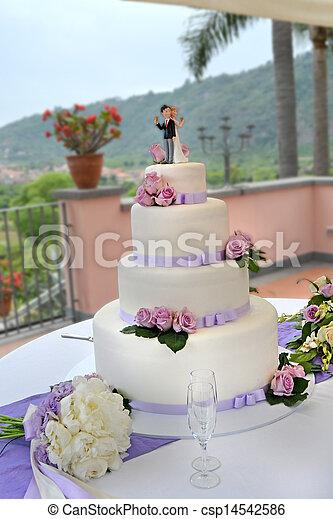 gâteau, mariage - csp14542586