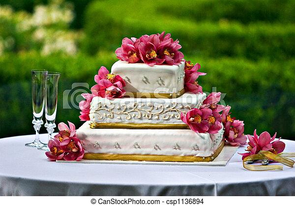 gâteau, mariage - csp1136894