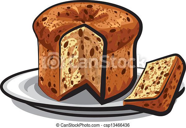gâteau, raisins secs, panettone , csp13466436