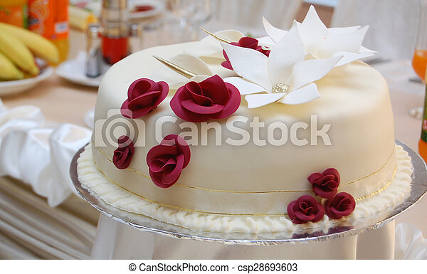 Gâteau Roses Blanc Rouge Mariage