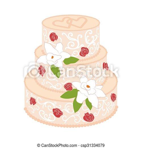 Gateau Roses Creme Rouges Mariage