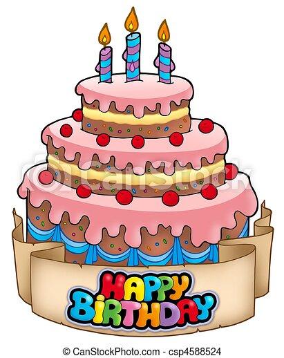 gâteau, thème, anniversaire, heureux. illustration., dessin