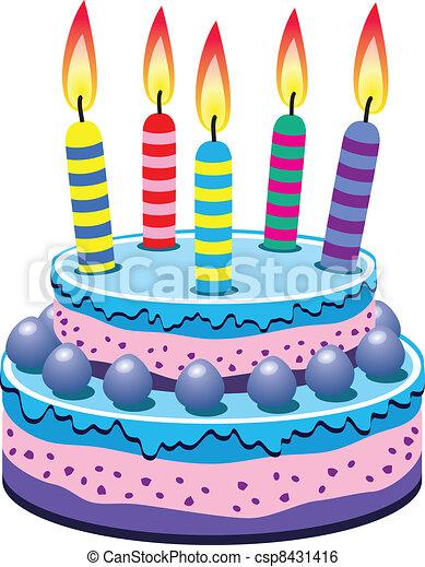 G teau vecteur anniversaire vecteur bougies g teau anniversaire br l - Gateaux anniversaire dessin ...