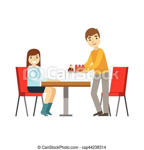 gâteaux, briniging, dessert, illustration, personne, vecteur, type, doux, fille souriant, café, avoir, table, patisserie - csp44238314