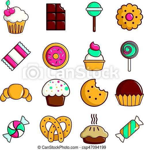 Gâteaux Icônes Ensemble Style Bonbon Bonbons Dessin Animé