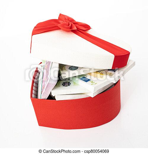 gåva, hjärta, bog, boxas, pengar - csp80054069