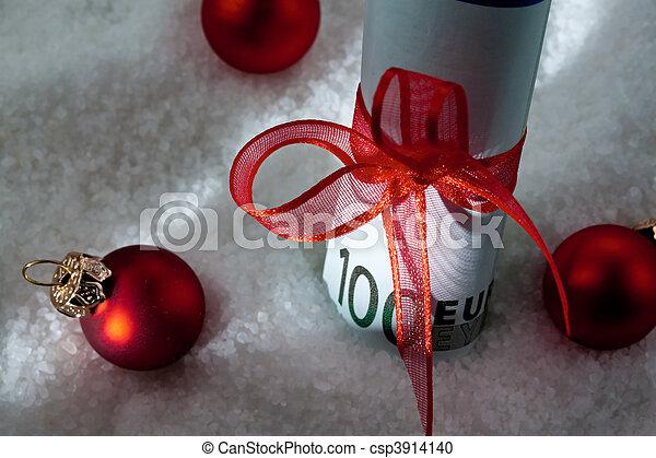 gåva, pengar, noteringen, bog, bank, euro - csp3914140