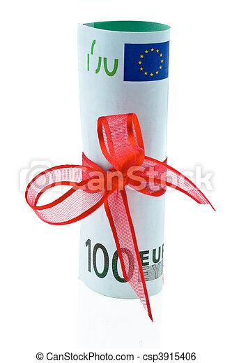 gåva, pengar, noteringen, bog, bank, euro - csp3915406