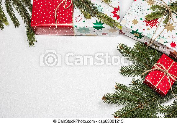 gåva, utrymme, text, rutor, bakgrund, vit jul, tom - csp63001215