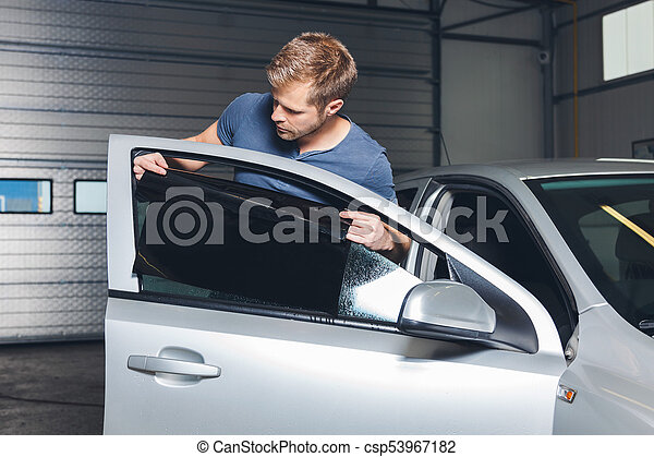 gælde, automobilen, folie, tinting, vindue, onto - csp53967182