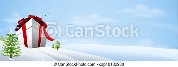 géant, cadeau, bannière, noël, fond - csp10132930