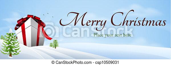 géant, cadeau, bannière, noël, fond - csp10509031