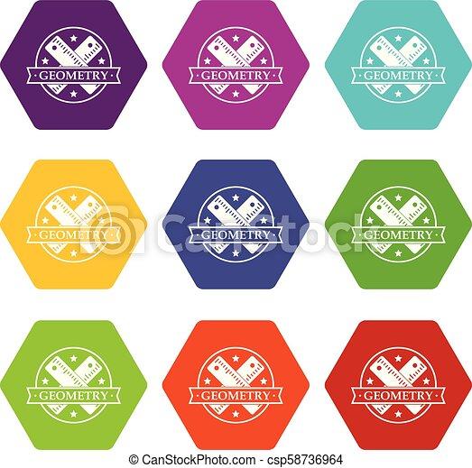 géométrie, 9, ensemble, vecteur, icônes - csp58736964