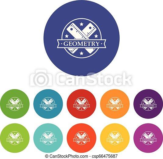 géométrie, couleur, ensemble, vecteur, icônes - csp66475687