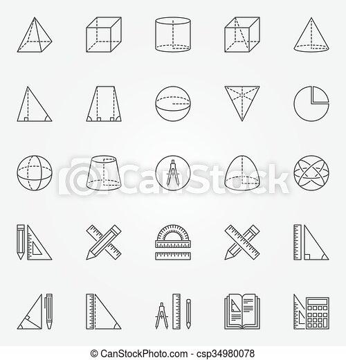 géométrie, ensemble, icônes - csp34980078