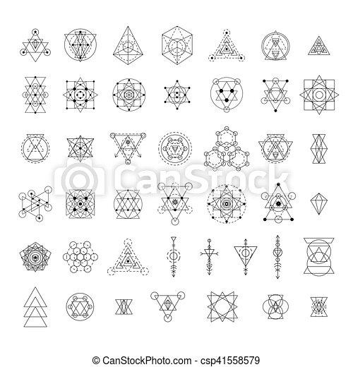 géométrie, sacré, collection, signes - csp41558579
