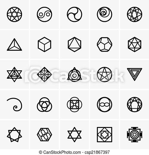 géométrie, sacré, icônes - csp21867397