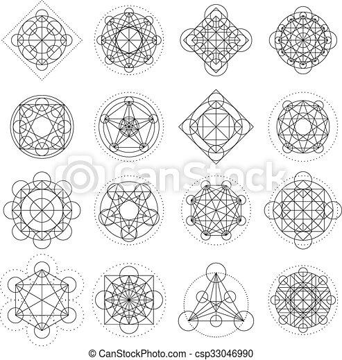 géométrie, vecteur, magie, signes - csp33046990
