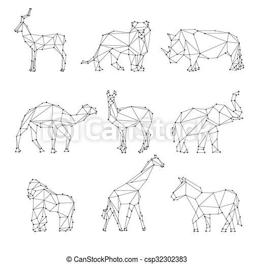 g om trique animaux silhouettes inhabituel animaux vecteur search clip art. Black Bedroom Furniture Sets. Home Design Ideas
