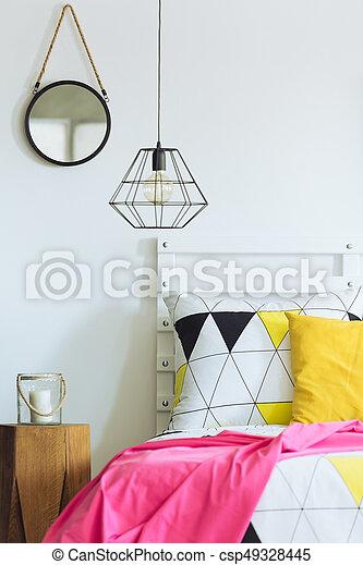 géométrique, chambre à coucher, rond, miroir