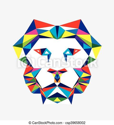 Geometrique Tete Lion Tete Art Lion Polygonal Vecteur