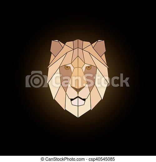 Géométrique Tête Lion Tête Illustration Arrière Plan Lion